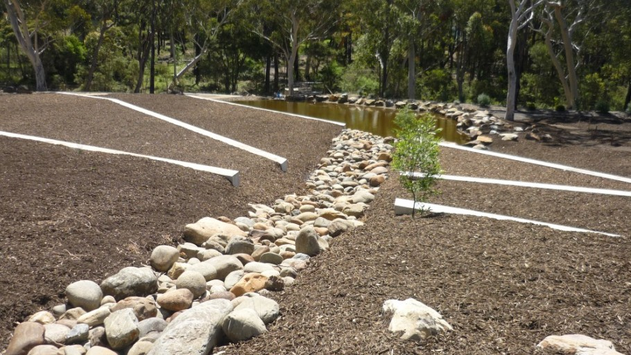 Sandstone Boulders & Mulching Installed: Rural Landscaping  Project