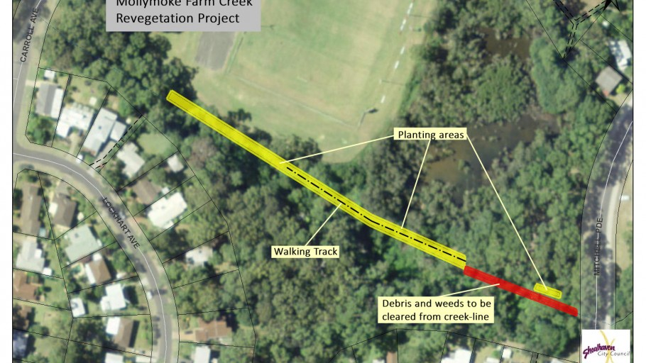 map of areas: Mollymoke Farm Creek - Revegetation and Weed Control Project